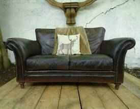 Stunning Antique Brown Style Scroll Arm Leather Chesterfield Sofa+Footstool (2available)