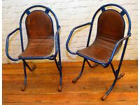 Pair of Sebel Stak a Bye industrial metal chairs vintage restaurant stacking retro kitchen garden