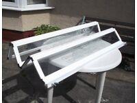 Bath/Shower Screen. Fully folding framed white 4 panel glass panels