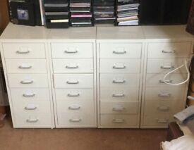 Metal Storage Draws/Storage Unit - x4 Cream and x2 Red