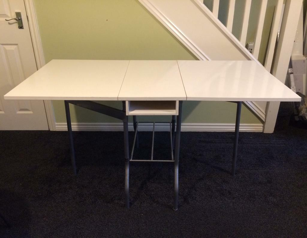 IKEA White Folding Extending Table, Dining, Craft Making, Office, Space  Saving,