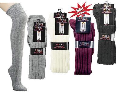 1 oder 2 Paar Strick Overknees für Teenager & Damen, Größe 35-42, 4 Farben