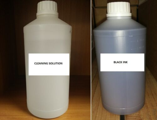 REFILL BLACK SUBLIMATION INK +  SUBLIMATION CLEANING SOLUTION FOR EPSON MUTOH