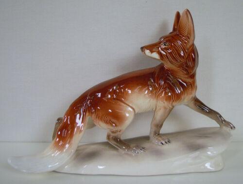 "11"" RARE FOX FIGURINE, THURINGIA, HERTWIG VEB ZIERKERAMIK Katzhütte 1st quality"