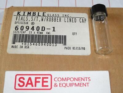 Kimble Clear Glass Vial 1-dram Qty-8 4ml 15x45mm W Screw Cap Kimble 60940d-1 X32