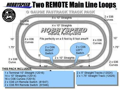 LIONEL FASTRACK 2 REMOTE MAIN LINE LOOP TRACK PACK 5'x8' O Gauge Train Layout  for sale  Indiana