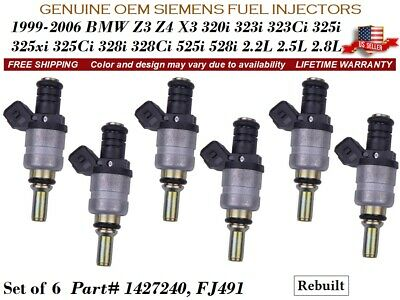 6 Fuel Injectors OEM Siemens for BMW Z3 528i 323i 325i 328Ci 323Ci 525i 325xi