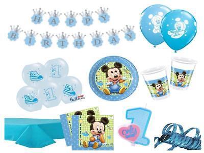 Party Deko Komplettset 1.Geburtstag Mickey Mouse Junge Party Geschirr PartyDeko