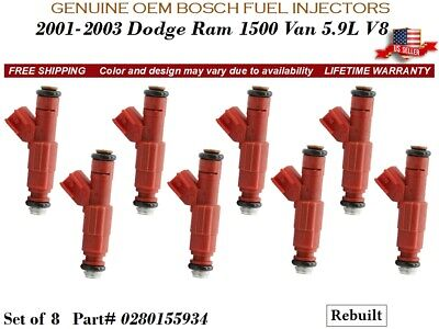 8 Fuel Injectors OEM BOSCH for 2001-2003 Dodge Ram 1500 Van 5.9L V8