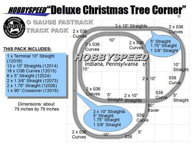 LIONEL FASTRACK DELUXE CHRISTMAS TREE CORNER TRACK LAYOUT 12019 7'x7' pack NEW