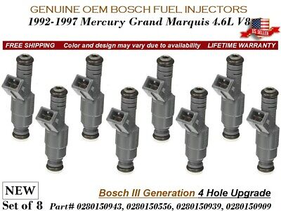 8 NEW Fuel Injectors 4Hole+MPG OEM Bosch III 1992-97 Mercury Grand Marquis (1997 Ford F150 Mpg)