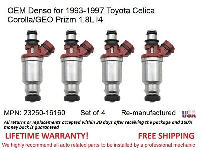 4 Fuel Injectors for 1993-1997 Toyota Celica Corolla/GEO Prizm 1.8L I4 OEM Denso