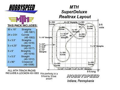 MTH REALTRAX SUPER DELUXE TRACK LAYOUT 9'x9' O GAUGE pack train design NEW for sale  Indiana