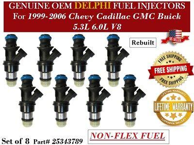 """1999-2006 Chevy Silverado 1500 5.3L V8 8pcs OEM Delphi Fuel Injectors """"NON-FLEX"""""""