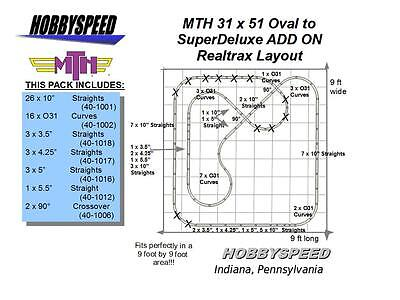 MTH REALTRAX 31 X 51 OVAL TO A SUPER DELUXE TRACK LAYOUT ADD-ON-PACK layout NEW, used for sale  Indiana