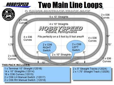 LIONEL FASTRACK 2 MAIN LINE LOOP TRACK PACK 5'x8' O Gauge Train Layout fast NEW  for sale  Indiana