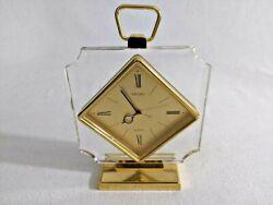Vintage 'Seiko' Lucite/Gold Carriage Desk Mantle Quartz Clock