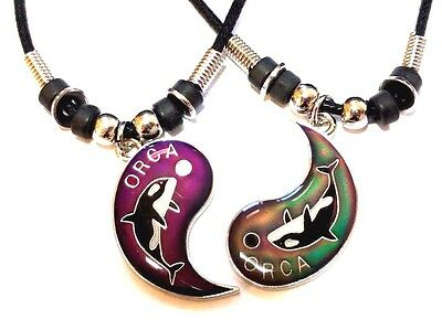 New BEST FRIEND Mood Orca Killer Whales  2 Pendants Necklace Set BFF Friendship