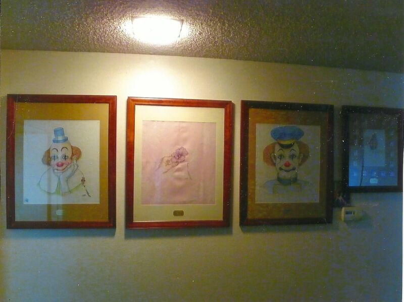 RED SKELTON ORIGINAL SIGNED DRAWING ON PINK ROYAL HAWAIIAN LINEN NAPKIN ART
