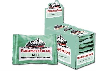 Menthol Mit Zucker (Fisherman's Friend Karton 24 Beutel Minze/Menthol Geschmack mit Zucker nur1xVers)