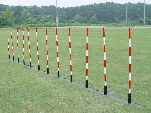 Dog Agility Weave Poles,  12-pole set w/ adjustable pole spacing