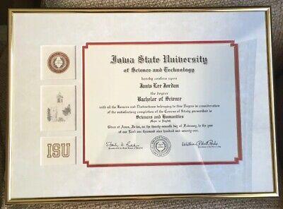 Vintage RARE Custom Iowa State University ISU Science Tech Degree Diploma (Iowa Diploma Frame)