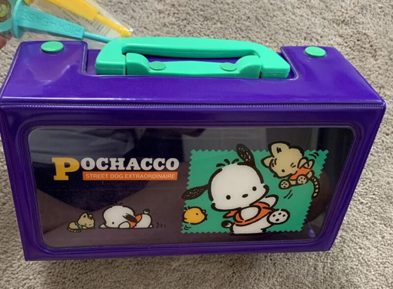 Sanrio Vintage Pochacco Plastic Vinyl Case W/ Handle Excellent Trinkets Plush