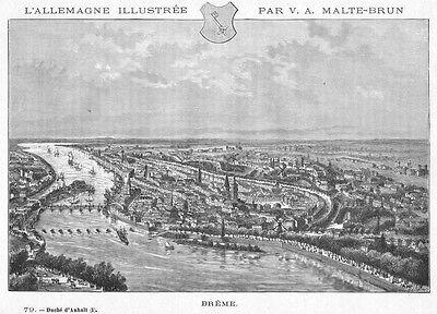 Bremen, Gesamtansicht mit Stadtwappen, Holzstich von Clerget von 1888