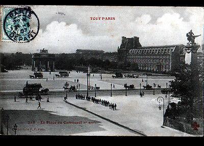 TOUT PARIS I° / DILIGENCES & ATTELAGES sur Place du CARROUSEL animée en 1907