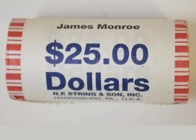 2008 D James Monroe Presidential Bank Wrapped Dollar 25 Coin Roll Unc Bu