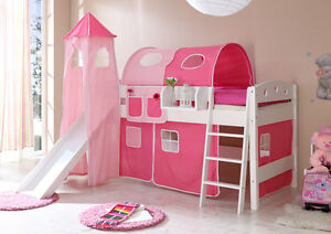 childrens cabin bed bunk bed midsleeper with tower slide girls boys 4104 ebay. Black Bedroom Furniture Sets. Home Design Ideas