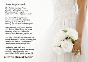 A4 Poem To Your Daughter On Her Wedding Day From Pas Or Pa