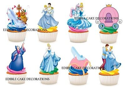 30 CINDERELLA STAND UP Cupcake Cake Toppers Edible Paper Decorations Topper