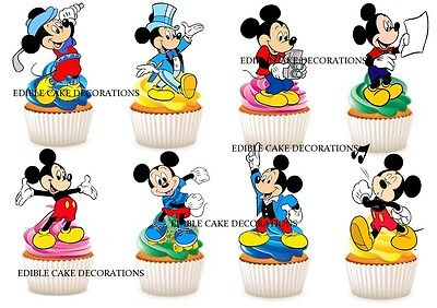 30 MICKEY MOUSE STAND UP Cupcake Cake Topper Edible Paper Decoration Birthday