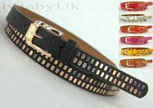 Womens-Ladies-Fashion-Belt-Skinny-Low-Waist-Thin-Studded-Rivet-Leather-Belt