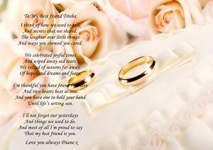 Personnalise A4 Poeme A Ma Meilleure Amie Sur Son Mariage Peche Tres Jolie