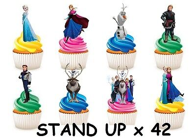 42 DISNEY FROZEN STAND UP Cupcake Fairy Cake Topper Edible Paper Decorations ()