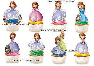 30 SOFIA THE FIRST STAND UP Cupcake Fairy Cake Toppers Edible Paper Decorations  - Sofia The First Cupcake Cake