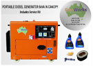 PORTABLE DIESEL GENERATOR 6kVA 240V in canopy with Service Kit