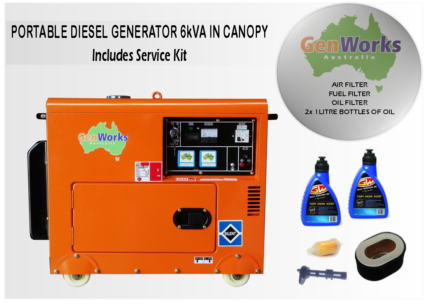 PORTABLE DIESEL GENERATOR 6kVA 240V in canopy with Service Kit Raceview Ipswich City Preview