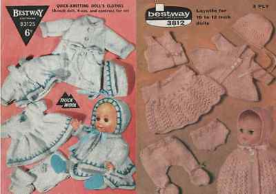 Vintage Knitting Patterns to make 14 x Doll's Clothes items. 10 to 13 inch Dolls
