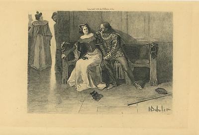 ANTIQUE ANNE BOLEYN JANE SEYMOUR KING HENRY ENGLAND COSTUME MASK OLD PRINT - Anne Boleyn Costume