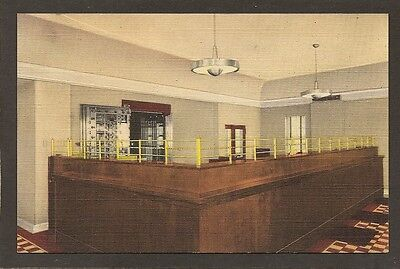 For sale LINEN ADVERTISING POSTCARD: INTERIOR - OAKLYN NATIONAL BANK - OAKLYN, NEW JERSEY