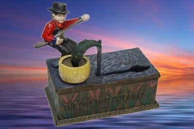 Spardose Angler Fisch Mechanisch Weihnacht Geschenk Vintage Dekoration Spielzeug