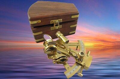 Messing Sextant im Holzbox Navi auf See Maritimes Geschenk vintage Tischdeko