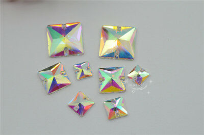Crystal Rhinestones Apparel -  square Glass crystal AB Rhinestones FlatBack stones Clothes sew on 100pcs