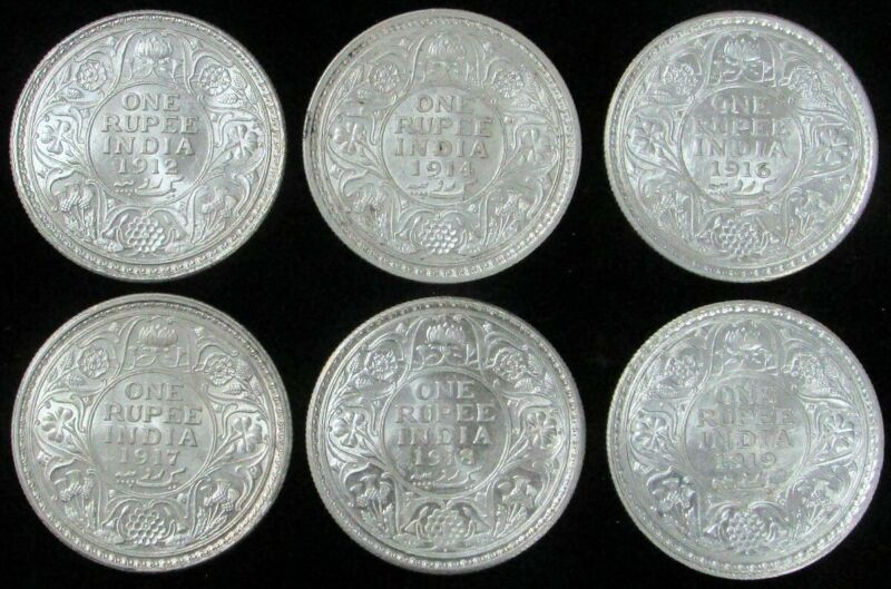 1912-1919 SIX BRILLIANT UNCIRCULATED SILVER INDIA BRITISH 1 RUPEES KING GEORGE V