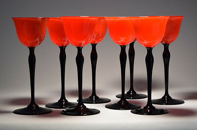 8 Art Deco Tall Cocktail Glasses