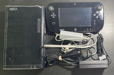 Working Nintendo Wii U Deluxe 32 GB Black System Gamepad Cords Bundle