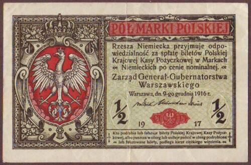 "POLAND  1/2 Marki  1917    P.7  "" General..."""